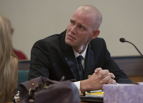 Steve Griffin  |  The Salt Lake Tribune An emotional Eric Charlton, who pled guilty to accidentally fatally shooting his brother in the head during a camping trip, listens with his attorney Susanne Gustin, during his sentencing hearing in 4th District Court in Nephi on Thursday.