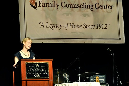 Elizabeth Smart, recipient of the Family Counseling Center's 2012 Legacy of Hope Award at its Centennial Gala.  Photo by Kristin Stockham.