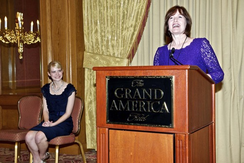 Photo courtesy of Kristin Stockham Elizabeth Smart, left, and Kate Della-Piana, executive director of the Family Counseling Center, at a press conference for the Center's Legacy of Hope Centennial Celebration Gala.