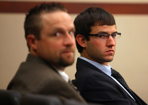 Robert Cole Boyer, left, and Colton Raines, right, attend a preliminary hearing at Second District Court Thursday, July 19, 2012 in Ogden, Utah. Colton Raines, Robert Cole Boyer and Skyler Shepherd are accused in a fatal hit and run boating accident last August. (NICK SHORT/Standard-Examiner)