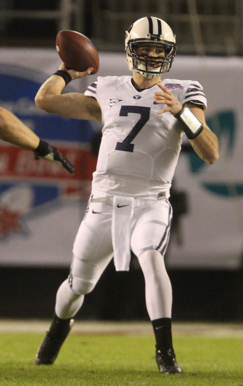 Rick Egan  | The Salt Lake Tribune   Brigham Young Cougars quarterback James Lark (7) throws the ball in football action during the Poinsettia Bowl, BYU vs. San Diego State, Thursday, December 20, 2012.