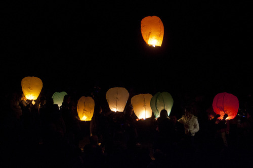 Chris Detrick  |  The Salt Lake Tribune Lanterns were lit and launched from the nearby football field - one for each Newtown victim - after a public service honoring Emilie Parker at Ben Lomond High School in Ogden Thursday December 20, 2012.  Emilie was killed in last week's Sandy Hook Elementary School shooting.