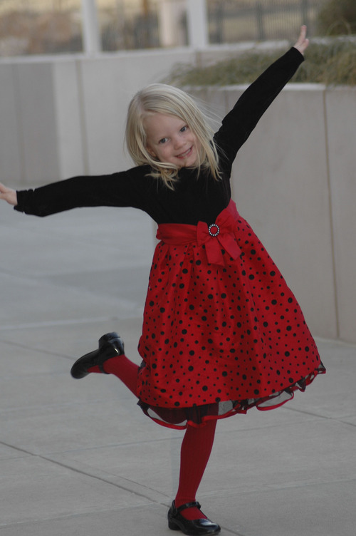 (Courtesy   The Parker Family) Emilie Parker at 4 years old at the Bountiful Temple, in Bountful.