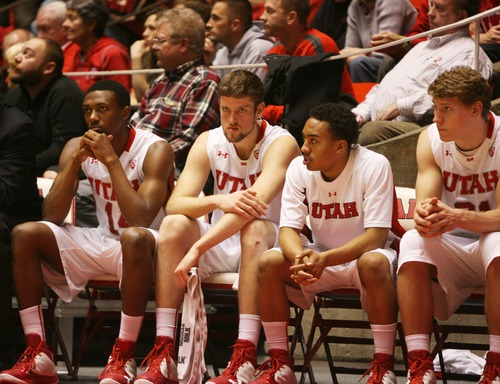 Kim Raff  |  The Salt Lake Tribune The University of Utah bench reacts to a 71-76 loose to Cal State Northridge during a game at the Huntsman Center in Salt Lake City on December 21, 2012.