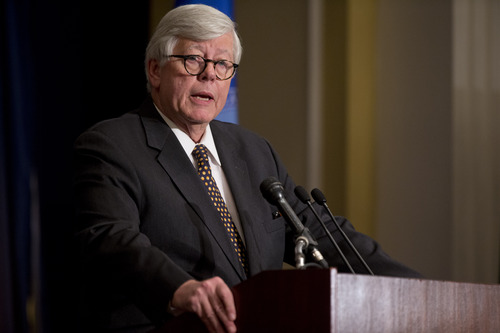 NRA president David Keene speaks during a news conference in response to the Connecticut school shooting on Friday, Dec. 21, 2012 in Washington.   The NRA called for armed police officers to be posted in every American school.  (AP Photo/ Evan Vucci)