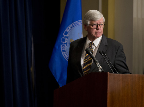 NRA president David Keene arrives for a news conference in response to the Connecticut school shooting on Friday, Dec. 21, 2012 in Washington.  The NRA called for armed police officers to be posted in every American school.  (AP Photo/ Evan Vucci)