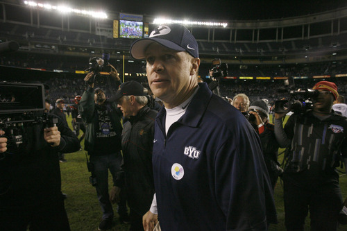 Rick Egan  | The Salt Lake Tribune   Brigham Young Cougars head coach Bronco Mendenhall after BYU defeated San Diego State 23-6 in the Poinsettia Bowl, Thursday, December 20, 2012.