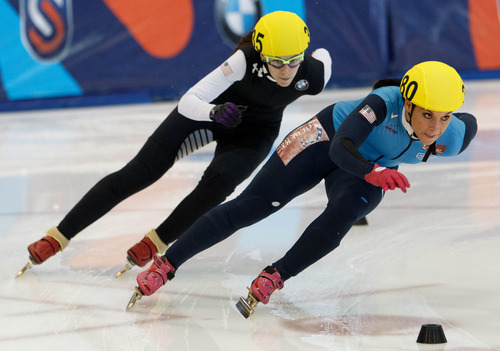 Trent Nelson  |  The Salt Lake Tribune Alyson Dudek, right, pursued by Lana Gehring in the Ladies 1000 Meters Final the US Short Track Championship at the Olympic Oval in Kearns, Saturday December 22, 2012. Gehring took first, Dudek second.