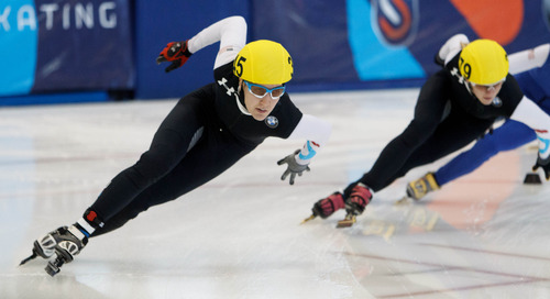 Trent Nelson  |  The Salt Lake Tribune Lana Gehring took first in the Ladies 1000 Meters Final the US Short Track Championship at the Olympic Oval in Kearns, Saturday December 22, 2012.
