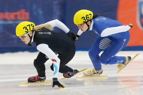 Trent Nelson  |  The Salt Lake Tribune Lana Gehring, left, and Alyson Dudek in the Ladies 1000 Meters Final the US Short Track Championship at the Olympic Oval in Kearns, Saturday December 22, 2012. Gehring took first, Dudek second.