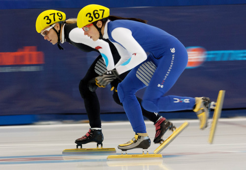 Trent Nelson  |  The Salt Lake Tribune Alyson Dudek (367) takes the lead from Emily Scott to take first in the Ladies 1000 Meters Semifinal during the US Short Track Championship at the Olympic Oval in Kearns, Saturday December 22, 2012.