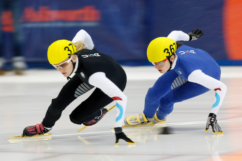Trent Nelson  |  The Salt Lake Tribune Alyson Dudek (367, right) took the lead from Emily Scott to take first in the Ladies 1000 Meters Semifinal during the US Short Track Championship at the Olympic Oval in Kearns, Saturday December 22, 2012.