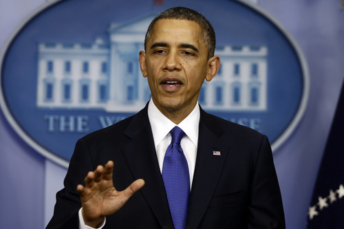 President Barack Obama speaks to reporters about the fiscal cliff in the Brady Press Briefing Room at the White House in Washington, Friday, Dec. 21, 2012. (AP Photo/Charles Dharapak)