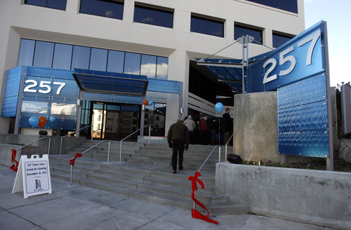 Rick Egan  | The Salt Lake Tribune   The renovated office tower at 257 E. 200 South, Wednesday, December 19, 2012.