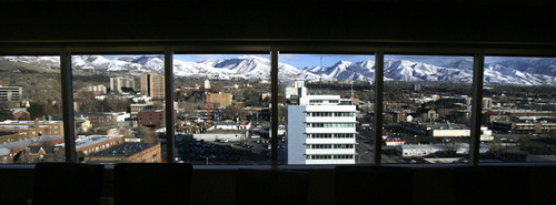 Rick Egan  | The Salt Lake Tribune   View from the 11th floor of the renovated office tower at 257 E. 200 South, Wednesday, December 19, 2012.