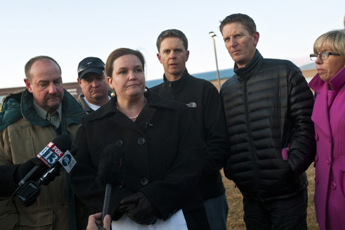 Chris Detrick  |  The Salt Lake Tribune Surrounded by members of the Parker and Cottle family, Jill Cottle Garrett, the aunt of 6-year-old Emilie Parker, who was killed in the Sandy Hook Elementary School shooting, speaks during a press conference outside of Ben Lomond High School in Ogden on Wednesday, Dec. 19, 2012. In the background is Randy Parker, Jeremie Parker, Brady Cottle, Daren Cottle and JoAnn Cottle. The public service honoring Emilie Parker will be held at 7 p.m. Thursday at Ben Lomond High, 1080 E. 9th St.