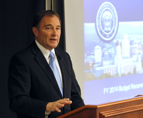 Al Hartmann  |  The Salt Lake Tribune Governor Gary Herbert on Dec. 12, 2012 as he releases his budget recommendations at Granite Technical Institute in Salt Lake City.