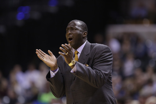 Utah Jazz head coach Tyrone Corbin in the second half of an NBA basketball game against the Indiana Pacers in Indianapolis, Wednesday, Dec. 19, 2012. The Pacers beat the Jazz 104-84.  (AP Photo/Michael Conroy)