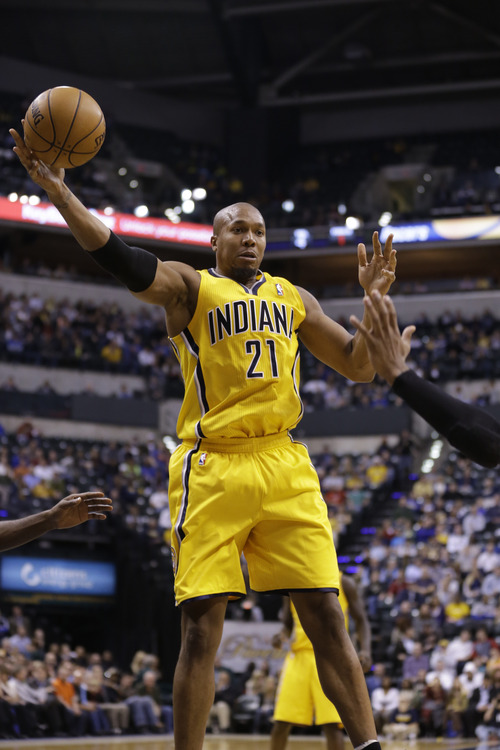 Indiana Pacers power forward David West in the first half of an NBA basketball game against the Utah Jazz in Indianapolis, Wednesday, Dec. 19, 2012.  (AP Photo/Michael Conroy)