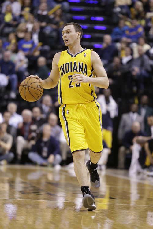 Indiana Pacers point guard Ben Hansbrough in the first half of an NBA basketball game against the Utah Jazz in Indianapolis, Wednesday, Dec. 19, 2012.  (AP Photo/Michael Conroy)