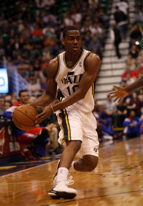 Ashley Detrick  |  The Salt Lake Tribune Alec Burks looks for a pass in the first half of the game against the Clippers on Saturday, Oct. 20, 2012 at Energy Solutions in Salt Lake City.