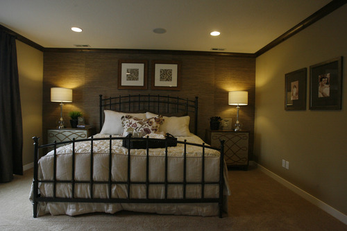 Rick Egan  | The Salt Lake Tribune   Master bedroom in the Wemberly, one of the Woodside Model Homes in the Foxboro subdivision, on Danby Drive, in the Foxboro North Community of North Salt Lake, Wednesday, December 12, 2012. Woodside Homes is a North Salt Lake-based builder and one of the biggest home builders in the U.S.