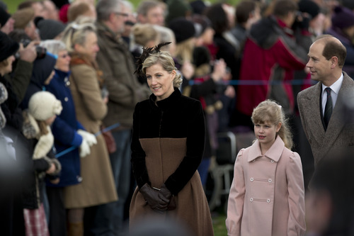 The son of Britain's Queen Elizabeth II, Prince Edward, his wife Sophie Countess of Wessex and their daughter Louise arrive for the British royal family's traditional Christmas Day church service in Sandringham, England, Tuesday, Dec. 25, 2012.  (AP Photo/Matt Dunham)