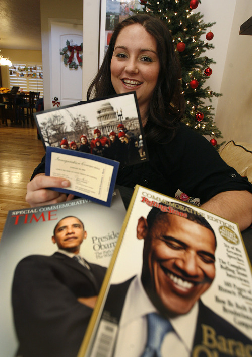 Scott Sommerdorf  |  The Salt Lake Tribune               Alexis Waters poses with some of the President Obama items she has collected along with her ticket from his first inauguration and a photo of her with friends and family from that visit, Thursday, December 20, 2012. Waters is one of hundreds of Utahns looking for tickets to President Barack Obama's inauguration. Waters went to the inauguration in 2009 and is excited to go back to Washington again. The Utah delegation says there has been a significant drop in the number of ticket requests as compared to the 2009 inaugural.