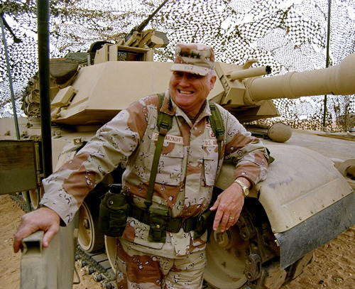 Bob Daugherty  |  AP file photo FILE - In this Jan. 12, 1991 file photo, Gen. H. Norman Schwarzkopf stands at ease with his tank troops during Operation Desert Storm in Saudi Arabia. Schwarzkopf died Thursday, Dec. 27, 2012 in Tampa, Fla. He was 78.