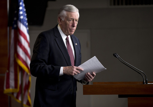 House Minority Whip Rep. Steny Hoyer of Md. walks to leave a news conference on Capitol Hill in Washington, Thursday, Dec. 27, 2012, where he urged House Republicans to end the pro forma session and call the House back into legislative session to negotiate a solution to the fiscal cliff.  (AP Photo/ Evan Vucci)