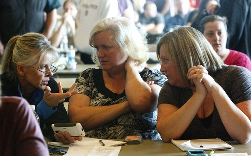 Leah Hogsten     The Salt Lake Tribune Connie Blowers, left, Donalyn Shock and Bobbi Frampton attend free Concealed Carry Weapons Class and Mass Violence Response Training, hosted by OPSGEAR and the Utah Shooting Sports Council, at the Maverik Center Thursday December 27, 2012 in West Valley City. In Utah teachers with a concealed carry permit can already carry firearms into classrooms. The course is open to all school employees ranging from teachers, bus drivers, principals and custodians.
