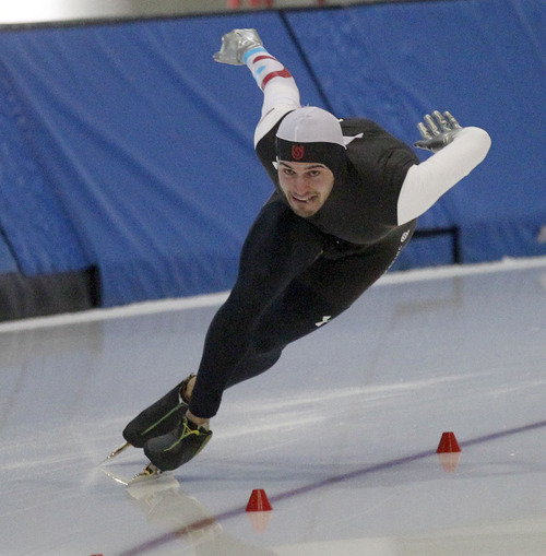 Al Hartmann  |  The Salt Lake Tribune Mitchell Whitmore comes through the final turn in the 500-meter race at the  U.S. Long-Track Speedskating Championships at the Utah Olympic Oval in Kearns Friday, Dec. 28.  He won 500-meter event.