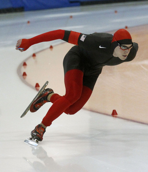 Al Hartmann  |  The Salt Lake Tribune James Cholewinski comes through the final turn in the 500-meter race at the  U.S. Long-Track Speedskating Championships at the Utah Olympic Oval in Kearns Friday, Dec. 28.  He took third place in the event.