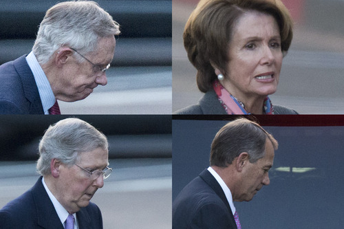 In this combination of photographs, Senate Majority Leader Harry Reid of Nevada, House Minority Leader Nancy Pelosi of California, Senate Minority Leader Mitch McConnell of Kentucky. and House Speaker John Boehner of Ohio leave the White House separately in Washington, Friday, Dec. 28, 2012, after a closed-door meeting between President Barack Obama and Congressional leaders to negotiate the framework for a deal on the fiscal cliff.  The end game at hand, President Barack Obama and congressional leaders made a final stab at compromise Friday to prevent a toxic blend of middle-class tax increases and spending cuts from taking effect at the turn of the new year.  (AP Photo/Evan Vucci)