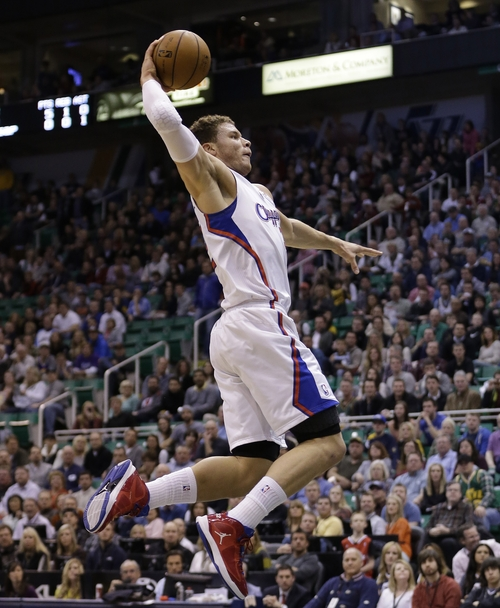 Los Angeles Clippers power forward Blake Griffin (32) dunks the ball in the first quarter of an NBA basketball game against the Utah Jazz, Friday, Dec. 28, 2012, in Salt Lake City. (AP Photo/Rick Bowmer)