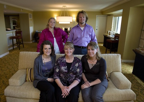 Tribune file photo  Kody Brown and his four wives, Janelle Brown, top, Robyn  Brown, Christine Brown and Meri Brown, pose for a portrait at the Downtown Mariott in Salt Lake City in September 2010.
