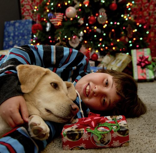 (Jose Luis Villegas/Sacramento Bee/MCT) Max Schwartz, 11, with dog Bear, learned about the importance of saving, spending and donating through a gift idea from his dad.
