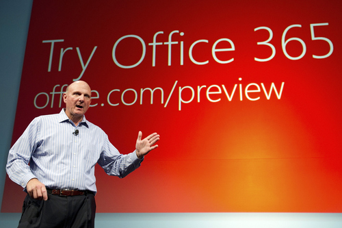 David Paul Morris/Bloomberg  Microsoft, led by CEO Steve Ballmer, has also jumped on the office-in-the-cloud trend. In 2011, it released Office 365, and offers its software in both a cloud version and a hybrid version that uses cloud computing and conventional servers.