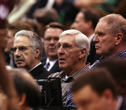 Leah Hogsten  |  The Salt Lake Tribune Former Utah Jazz coaches Phil Johnson, Jerry Sloan and current Executive VP of Operations Kevin O'Connor watch as Brigham Young University defeats Virginia Tech 97-71, Saturday December 29, 2012 in Salt Lake City at Energy Solutions Arena.