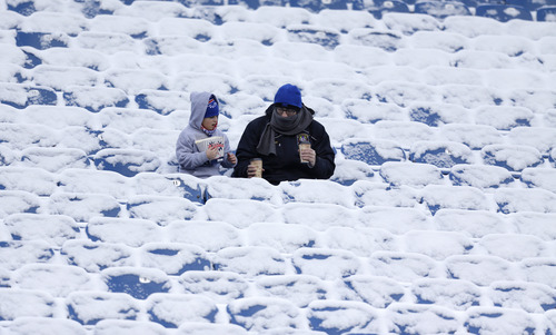 Fans sit in snow-covered stands at Ralph Wilson Stadium before an NFL football game between the New York Jets and Buffalo Bills, Sunday, Dec. 30, 2012, in Orchard Park, N.Y. (AP Photo/Gary Wiepert)