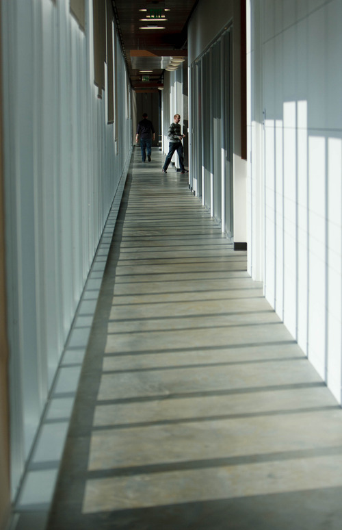 Trent Nelson  |  The Salt Lake Tribune Hallways run the length of the new Adobe building Thursday December 6, 2012 in Lehi.