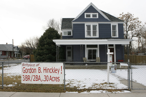 Francisco Kjolseth  |  The Salt Lake Tribune The childhood home of late LDS Church President Gordon B. Hinkley at 840 East and 700 South in Salt Lake City is for sale.