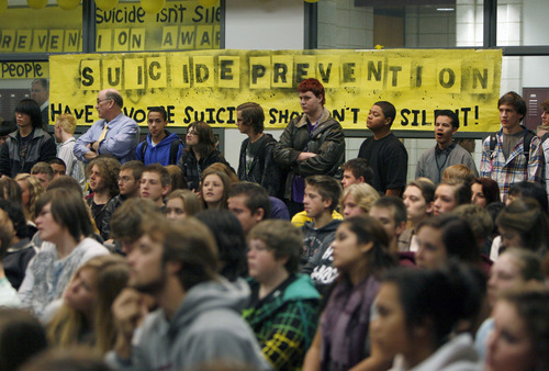 "Francisco Kjolseth  |  Tribune Jordan High School students pack in for an assembly entitled ""Suicide Shouldn't be a Secret!"" on Tuesday, December 18, 2012, where Tanner Kirk, a teen who attempted suicide three years ago at the age of 13, spoke with the assistance of a computer. Suicide is the second leading cause of death among Utah teens and in 2011, 11,503 Utah teens made a suicide attempt."