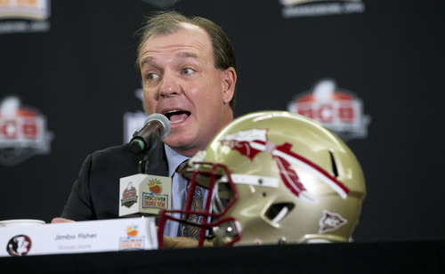 Florida State coach Jimbo Fisher talks to the media during the coaches' news conference for the Orange Bowl NCAA college football game in Fort Lauderdale, Fla., Monday, Dec. 31, 2012. Northern Illinois is scheduled to play Florida State in the New Year's Day game. (AP Photo/J Pat Carter)