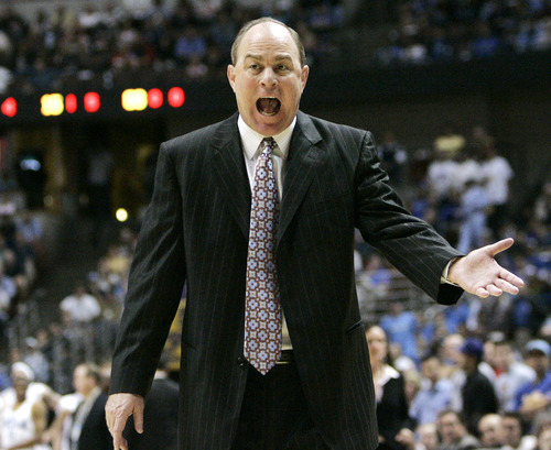 UCLA coach Ben Howland  reacts during the first half as his team takes on Texas A&M at the John R. Wooden Classic college basketball game in Anaheim, Calif., Saturday, Dec.9, 2006. UCLA won, , 65-62. (AP Photo/Kevork Djansezian)