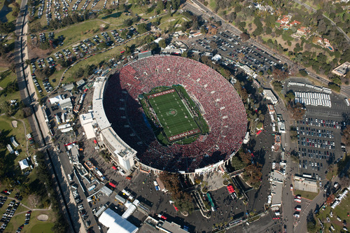 In this image released by Tim Long Photography, Inc., Wisconsin takes on Stanford in this aerial view during the Rose Bowl NCAA college football game, Saturday, Jan. 1, 2012, in Pasadena, Calif. (AP Photo/Tim Long Photography, Inc., Nick Santos)