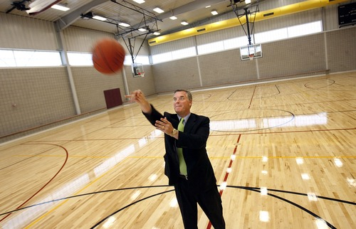 Scott Sommerdorf  |  Tribune file photo Salt Lake County Mayor Peter Corroon takes a few shots at one of the basketball hoops in the new basketball court at the Copperview Recreation Center on Monday, September 21, 2009. Mayor Corroon and Midvale City Mayor JoAnn Seghini officially re-opened the facility after a sweeping remodel. Corroon was one for 12 in his shooting.