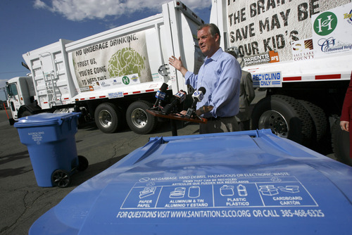 Francisco Kjolseth  |  Tribune file photo Salt Lake County Mayor Peter Corroon joins other officials in announcing that it will expand its curbside recycling program. Instead of picking up recyclables every other week, the county will do it weekly starting Sept. 1, 2011.