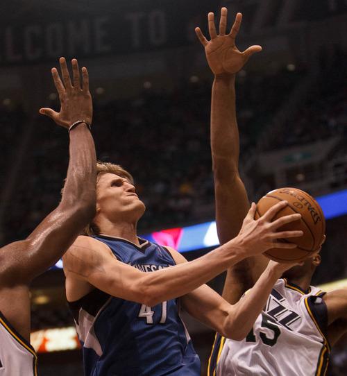 Trent Nelson  |  The Salt Lake Tribune Minnesota's Andrei Kirilenko takes a shot as the Utah Jazz host the Minnesota Timberwolves, NBA basketball Wednesday January 2, 2013 in Salt Lake City.