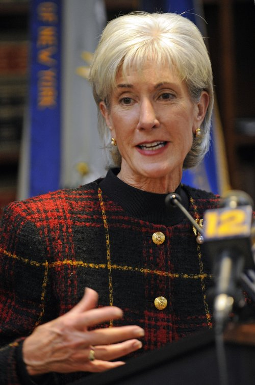 Department of Health and Human Services Secretary Kathleen Sebelius discusses the raids by federal agents in three states in which 32 people were arrested on charges related to Medicare fraud totaling $61 million as the government cracks down on waste under health care overhaul plans, at a news conference in the New York City borough of Brooklyn, Tuesday, Dec. 15, 2009. (AP Photo/Henny Ray Abrams)
